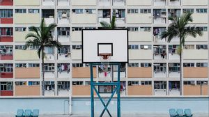 Preview wallpaper basketball court, playground, roof, building, urban