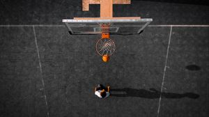 Preview wallpaper basketball, basketball hoop, ball, aerial view
