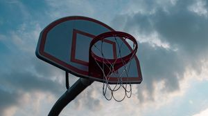 Preview wallpaper basketball hoop, basketball, basketball net, sky