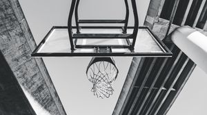 Preview wallpaper basketball, ring, mesh, bw