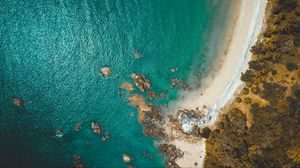Preview wallpaper beach, coast, aerial view, sea, rocks