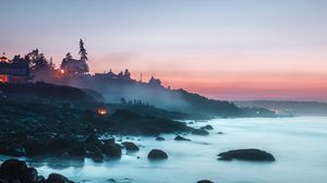Preview wallpaper beach, fog, coast, sunset, camping, landscape, stones