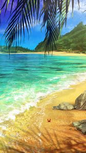 ... Preview wallpaper beach, palm, ocean, art, surf