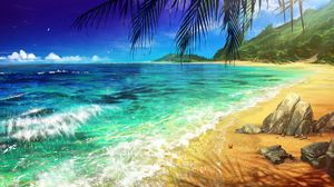 Preview wallpaper beach, palm, ocean, art, surf