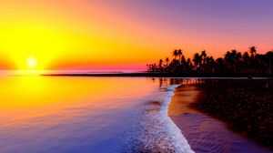 Preview wallpaper beach, tropics, sea, sand, palm trees, sunset