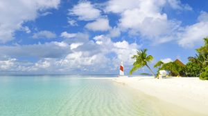 Preview wallpaper beach, tropics, sea, sand, palm trees, yacht