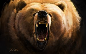 Preview wallpaper bear, grin, angry, fangs, art