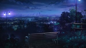 Preview wallpaper bench, night city, overview