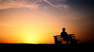 Preview wallpaper bench, sunset, people, solitude