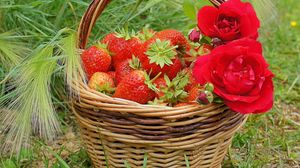 Preview wallpaper berries, rose, strawberry, basket