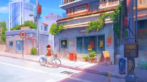 Preview wallpaper bicycle, art, girl, street, buildings, summer
