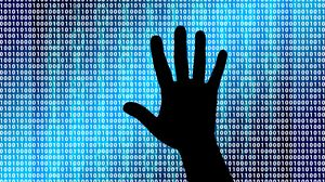 Preview wallpaper binary code, binary number, hand, silhouette