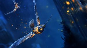 Preview wallpaper bird, fantastic, flight, glow, art
