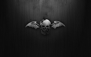 Preview wallpaper black, skull, wings, mesh