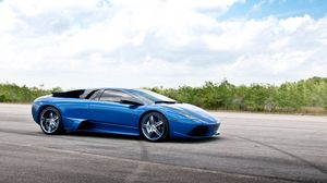 Preview wallpaper blue, road, lamborghini
