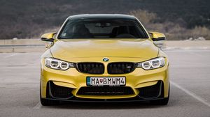 Preview wallpaper bmw, car, front view, yellow