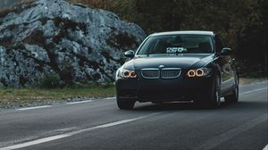 Preview wallpaper bmw, car, front view, road, marking