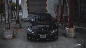 Preview wallpaper bmw, car, front view, black, garage