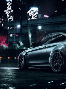 Preview wallpaper bmw, car, sports, coupe, gray, metallic, wet, night