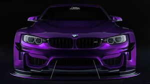 Preview wallpaper bmw, car, sportscar, purple, front view
