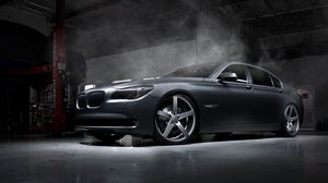 Preview wallpaper bmw, car, tuning, garage, wheels, smoke