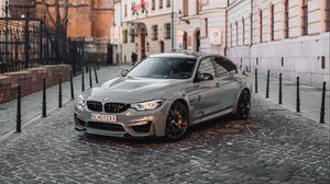 Preview wallpaper bmw, front view, gray, street
