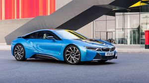 Preview wallpaper bmw, i8, 2015, blue, side view