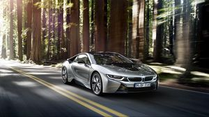 Preview wallpaper bmw, i8, silver, side view