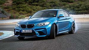 Preview wallpaper bmw, m2, f87, blue, side view