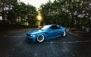 Preview wallpaper bmw, m3, blue, side view, trees