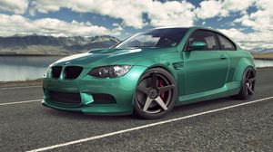Preview wallpaper bmw, m3, e92, auto, car, green, road, sky, clouds