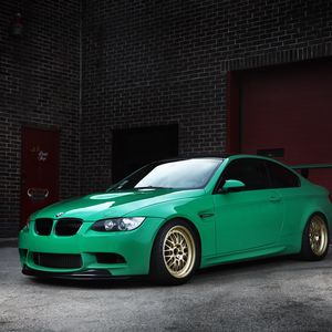 Preview wallpaper bmw, m3, e92, green, wheels, wing, brick walls, gates