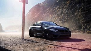 Preview wallpaper bmw, m4, f82, black, side view