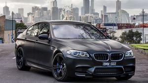 Preview wallpaper bmw, m5, black, side view