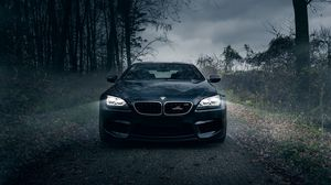 Preview wallpaper bmw m6, black, forest, fog, front bumper