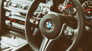 Preview wallpaper bmw, m6, steering wheel, interior