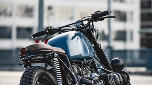 Preview wallpaper bmw r80, bmw, motorcycle, bike, blue, side view
