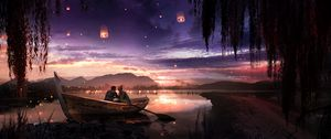 Preview wallpaper boat, couple, stars, night, romance, art