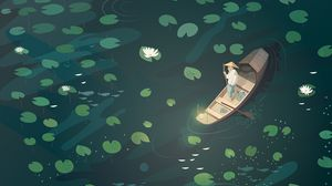 Preview wallpaper boat, fisherman, water lilies, art