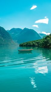 Preview wallpaper boat, mountains, lake, water, horizon