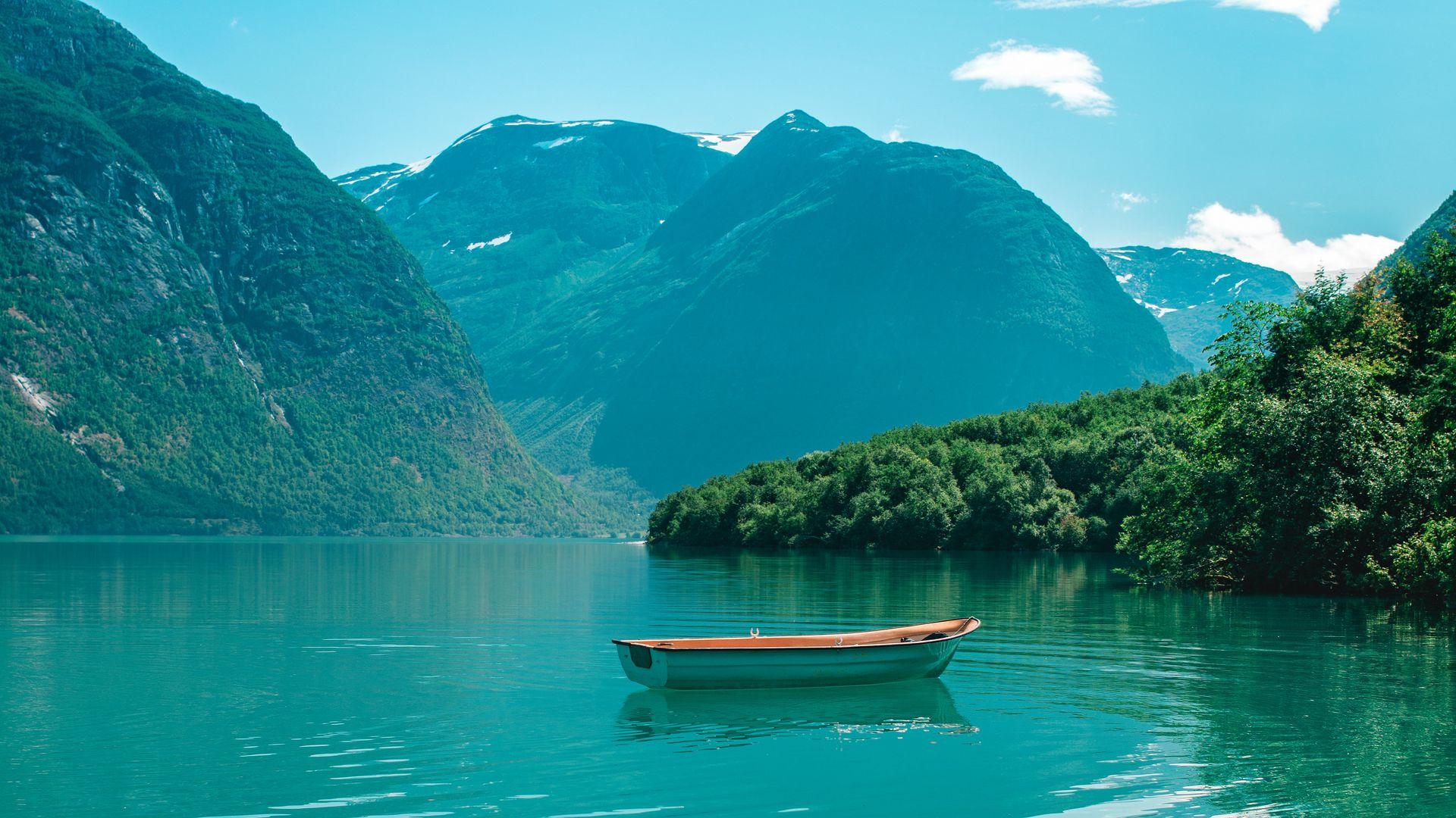 1920x1080 Wallpaper boat, mountains, lake, water, horizon