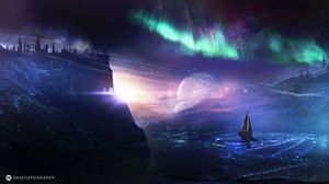 Preview wallpaper boat, planet, northern lights, art, night