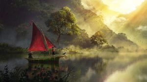 Preview wallpaper boat, river, art, fog, dawn