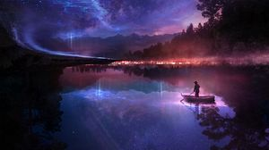 Preview wallpaper boat, river, loneliness, night, art