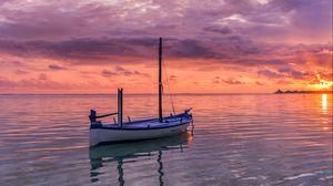 Preview wallpaper boat, sea, ocean, horizon, sunset