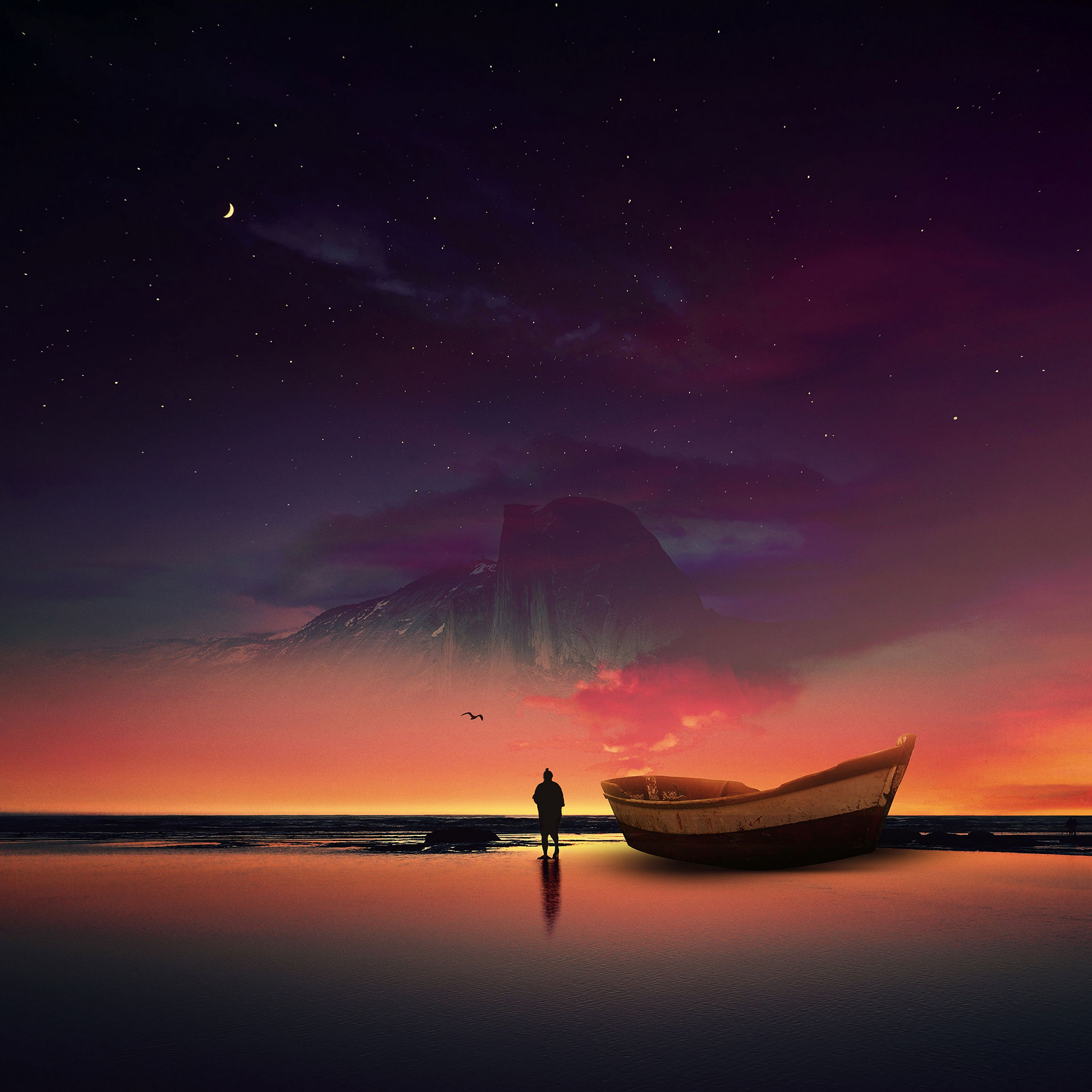 2780x2780 Wallpaper boat, silhouette, photoshop, shore, ocean, starry sky, night