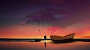 Preview wallpaper boat, silhouette, photoshop, shore, ocean, starry sky, night