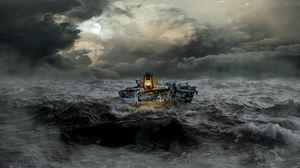 Preview wallpaper boat, storm, sea, waves, overcast