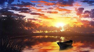 Preview wallpaper boat, sunset, palm trees, water, art