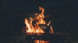 Preview wallpaper bonfire, fire, camping, firewood, night